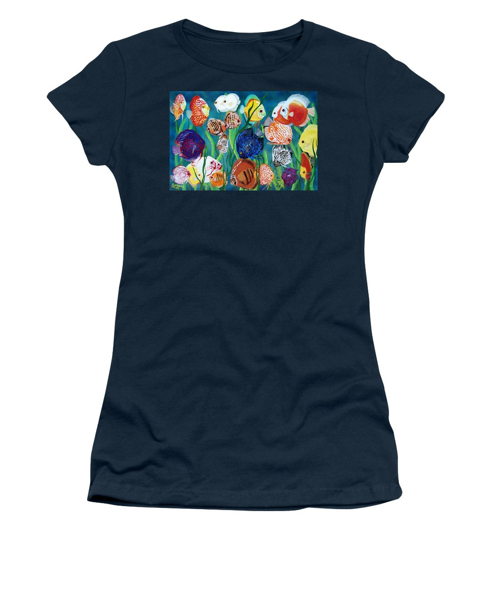 Fish Women's T-Shirt featuring the painting Discus Fantasy by Debbie LaFrance