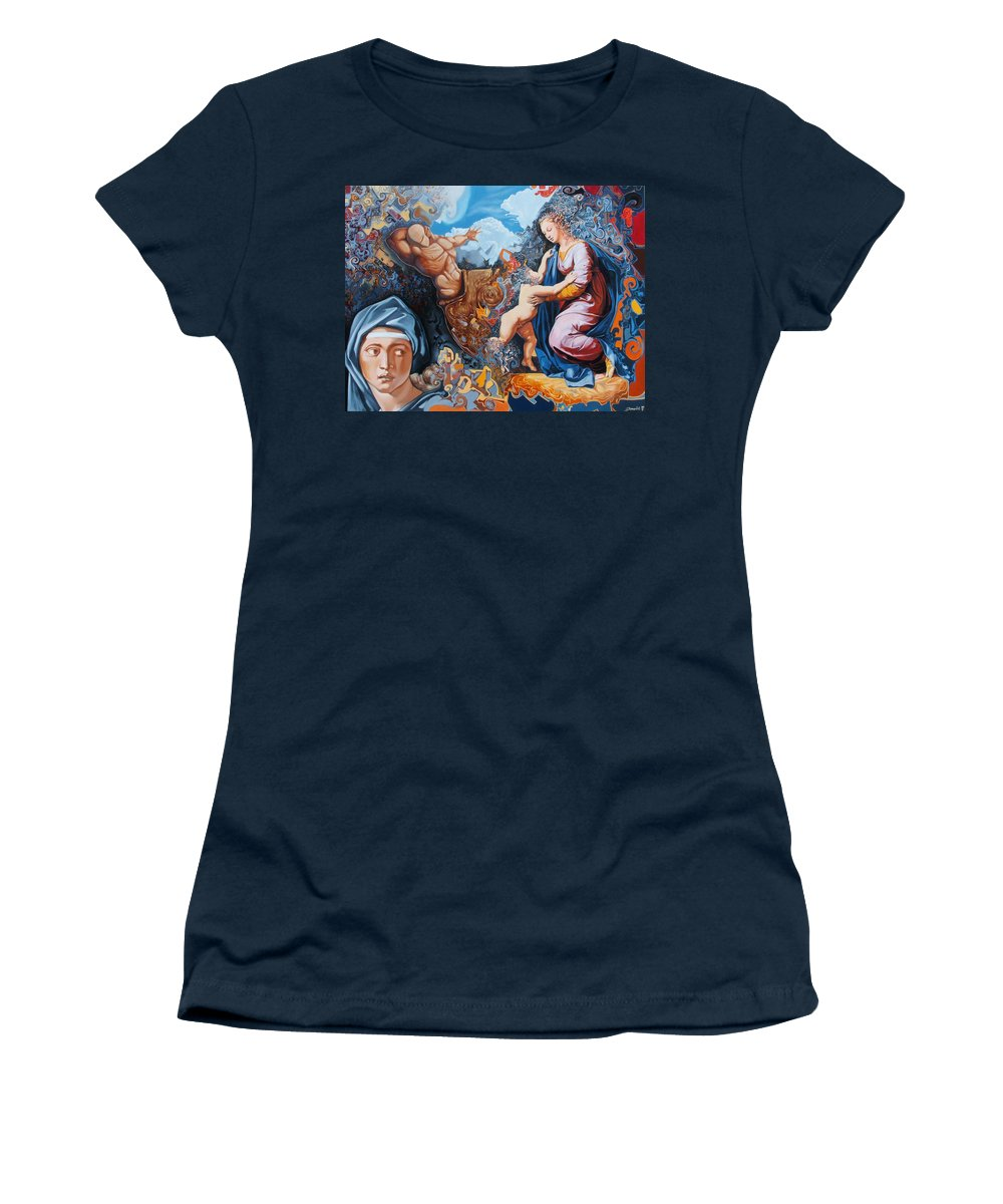 Surrealism Women's T-Shirt featuring the painting Disintegration Of The Old Ancient World by Darwin Leon