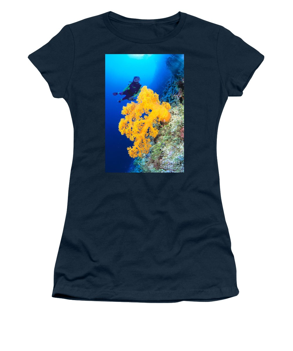 Alcyonarian Women's T-Shirt featuring the photograph Diving, Australia by Dave Fleetham - Printscapes