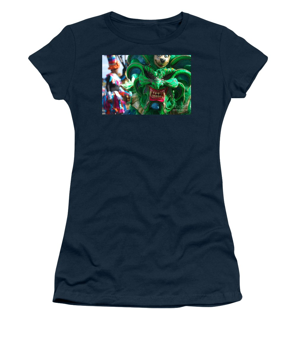Carnival Women's T-Shirt (Athletic Fit) featuring the photograph Dominican Republic Carnival Parade Green Devil Mask by Heather Kirk