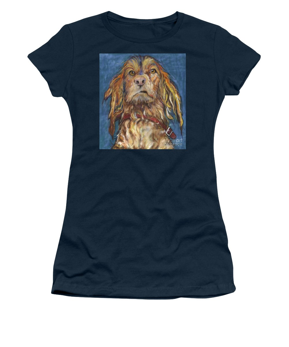 Golden Retriever Painting Women's T-Shirt featuring the pastel Drenched by Pat Saunders-White