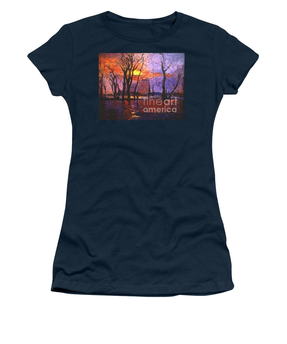 Dusk Women's T-Shirt featuring the painting Dusk by Meihua Lu