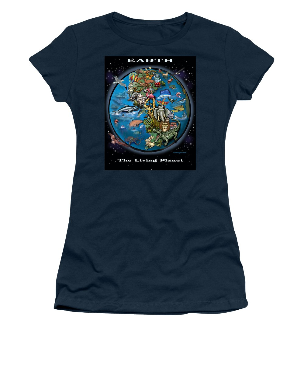 Earth Women's T-Shirt (Athletic Fit) featuring the painting Earth by Kevin Middleton