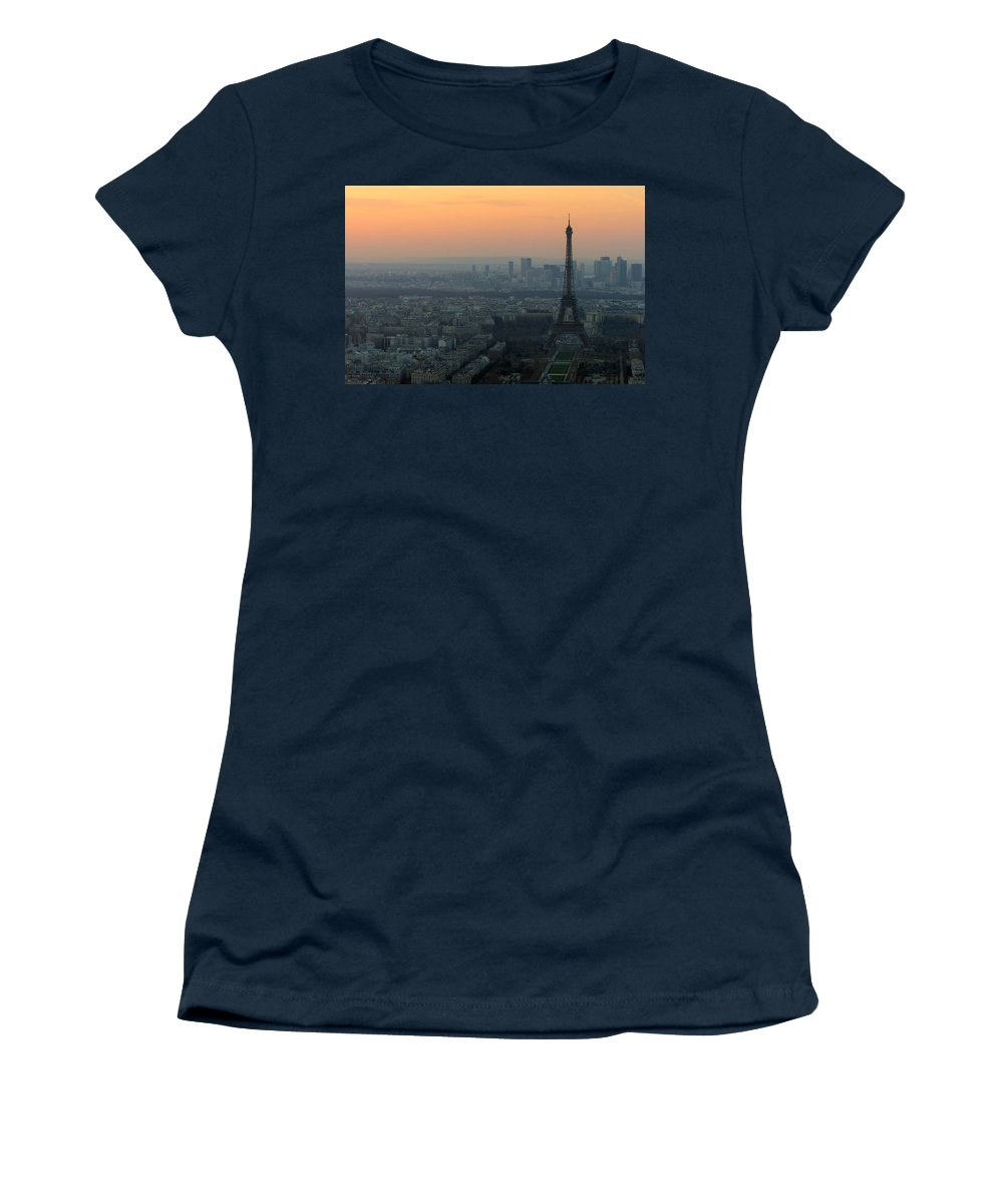 Eiffel Women's T-Shirt (Athletic Fit) featuring the photograph Eiffel Tower At Dusk by Sebastian Musial