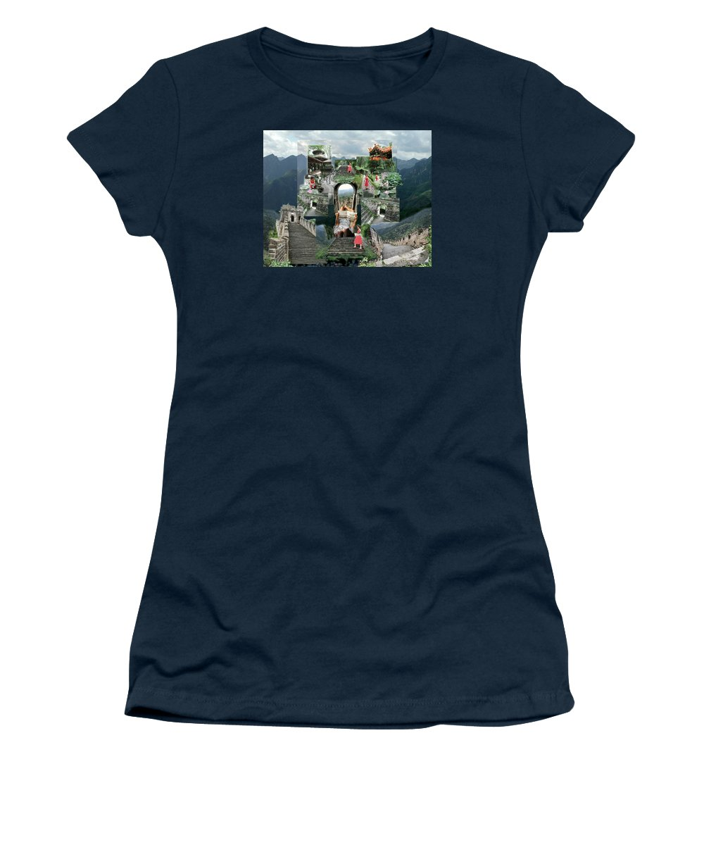 Landscape Women's T-Shirt (Athletic Fit) featuring the digital art Emma's Stairway by Dave Martsolf