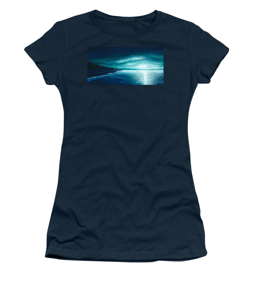 Moonscape Women's T-Shirt featuring the painting Enchanted Moon I by James Christopher Hill