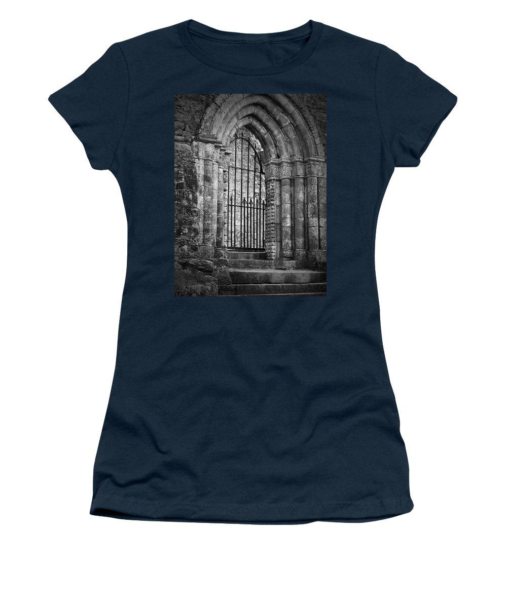 Irish Women's T-Shirt featuring the photograph Entrance To Cong Abbey Cong Ireland by Teresa Mucha