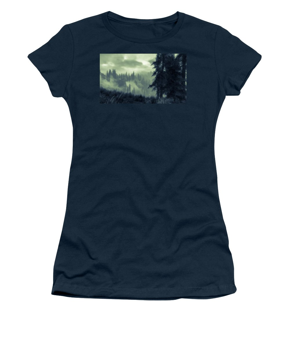 Mist Women's T-Shirt featuring the painting Eternal Shadow Falls by Andrea Mazzocchetti