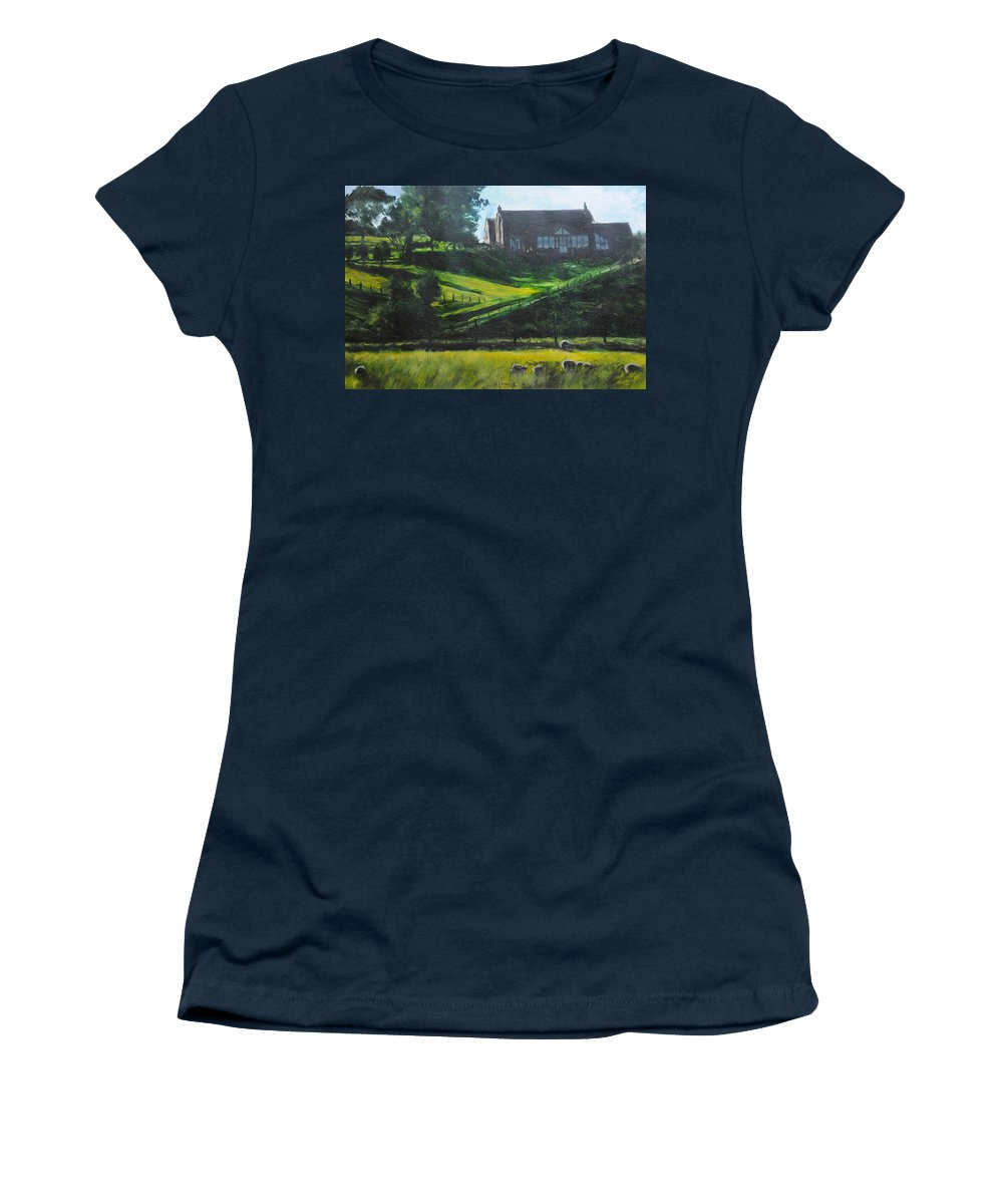Landscape Women's T-Shirt featuring the painting Evening In North Wales by Harry Robertson