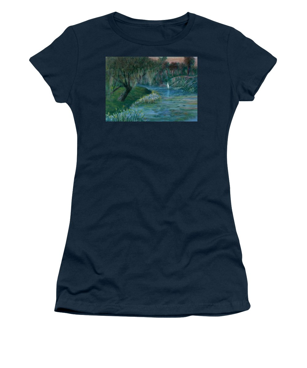 Low Country; Egrets; Lily Pads Women's T-Shirt featuring the painting Evening Shadows by Ben Kiger