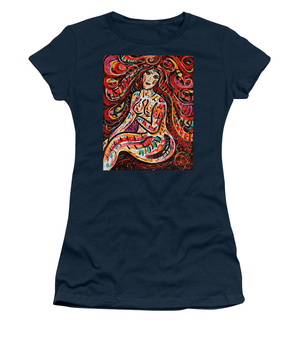 Nude Women's T-Shirt (Athletic Fit) featuring the painting Eve's Dream by Natalie Holland