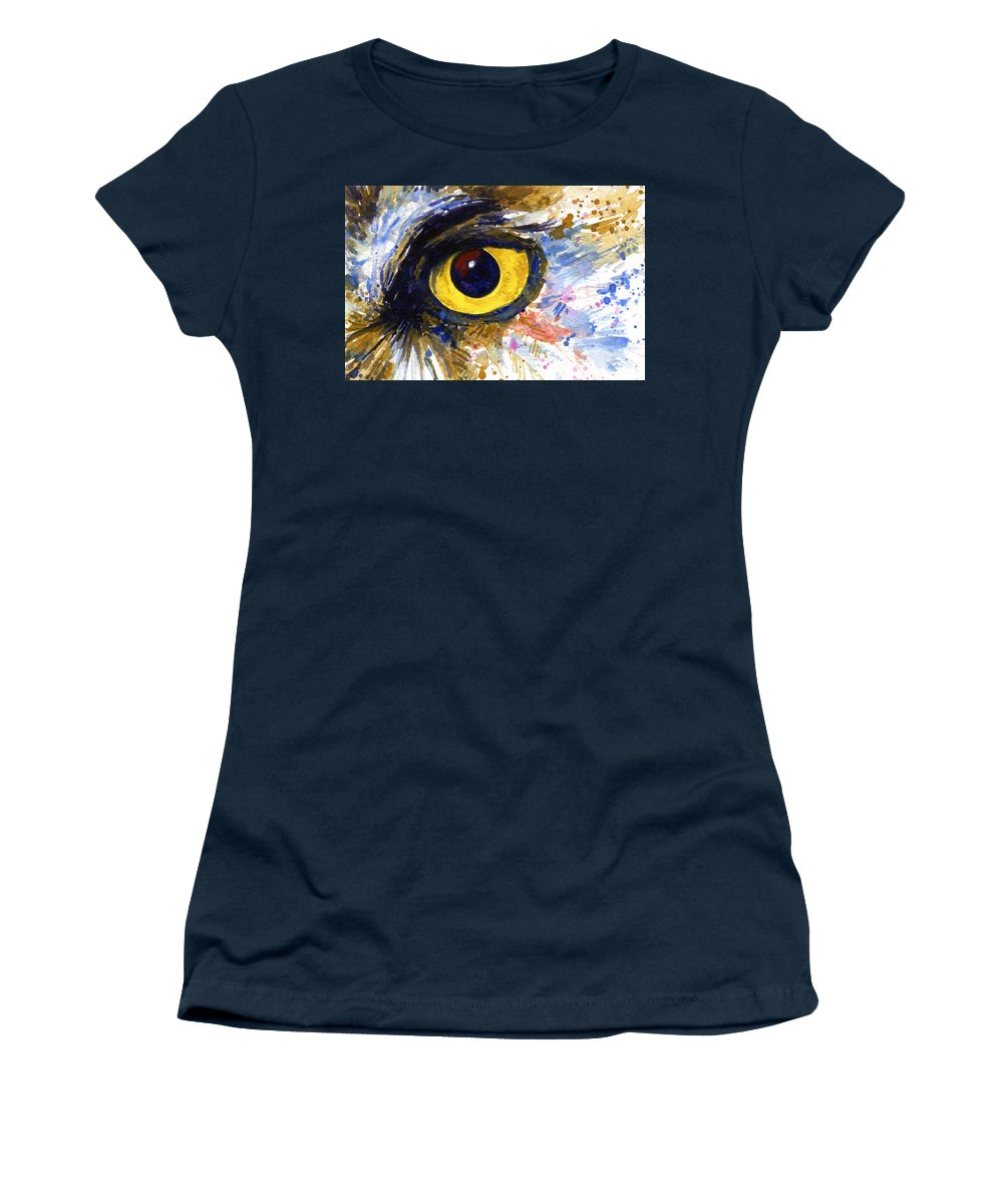 Owls Women's T-Shirt (Athletic Fit) featuring the painting Eyes Of Owl's No.6 by John D Benson
