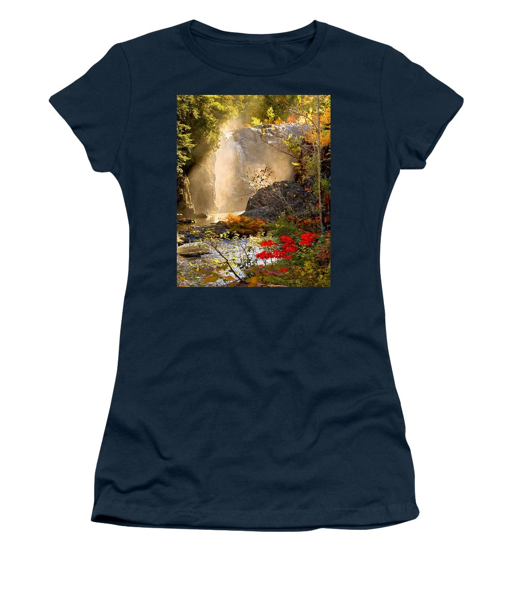 Fall Women's T-Shirt featuring the photograph Fall Falls Mist Dead River Falls Marquette MI by Michael Bessler