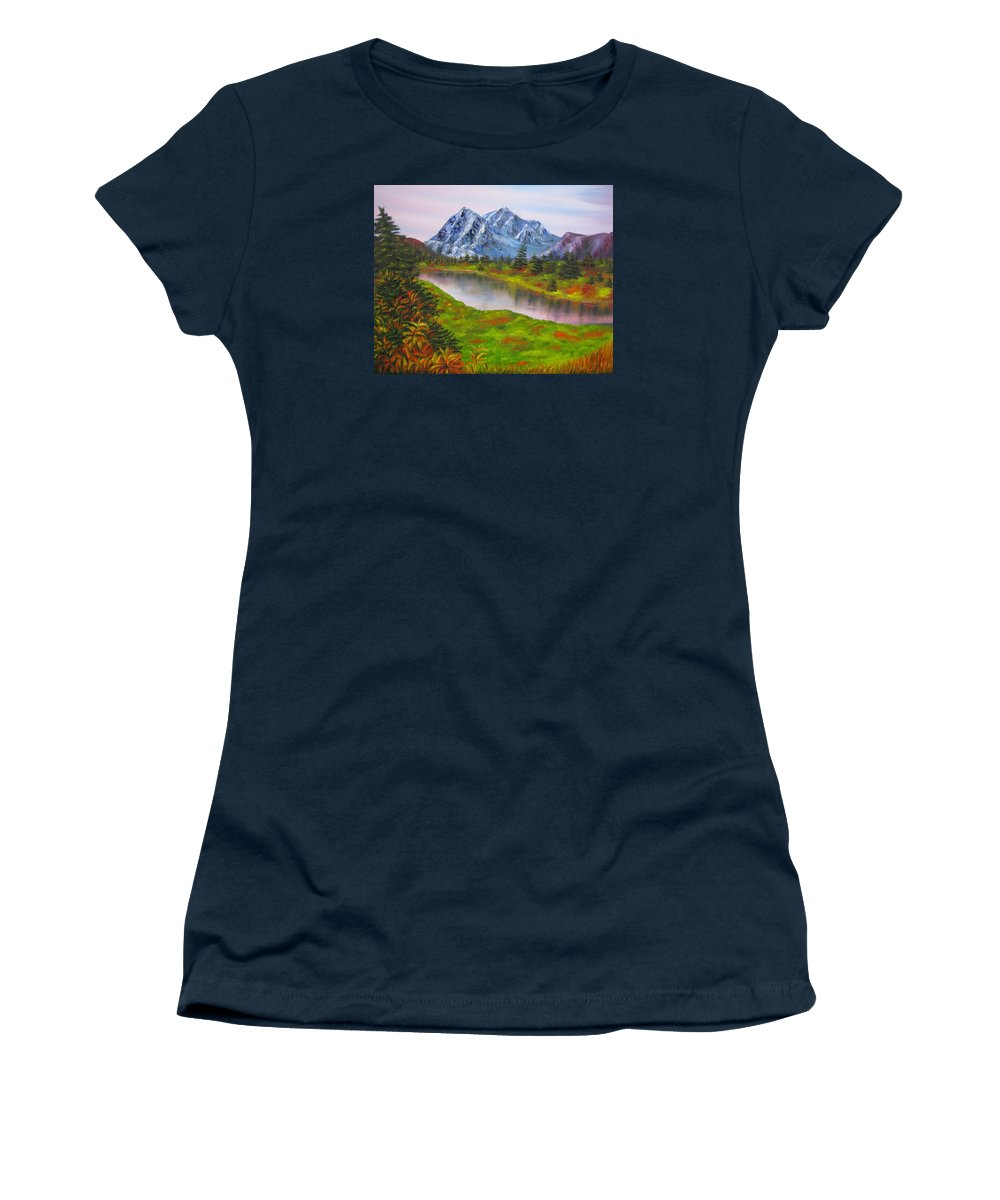 Autumn Women's T-Shirt featuring the painting Fall in Mountains Landscape oil painting by Natalja Picugina