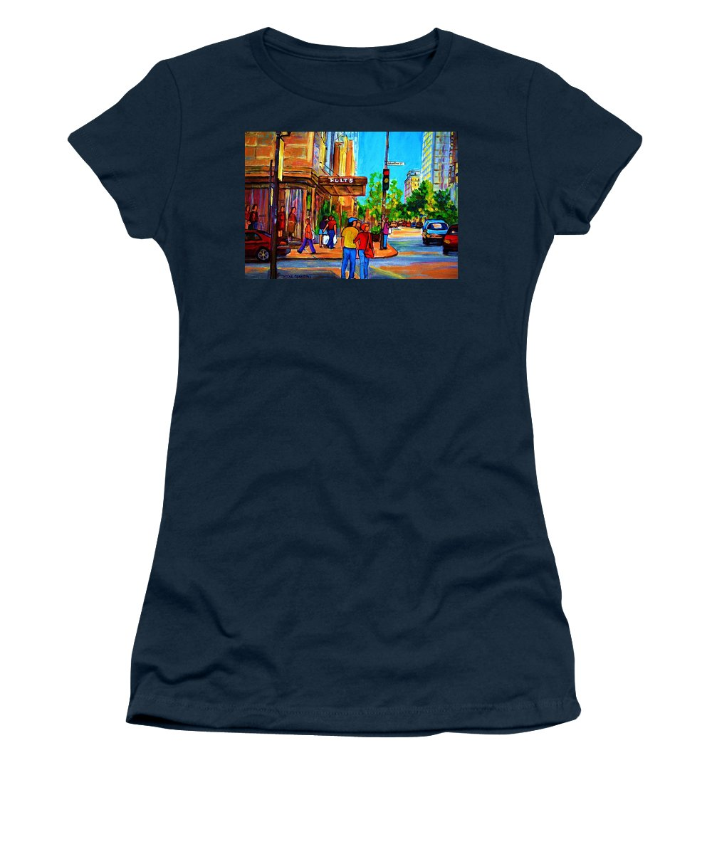 Holt Renfrew Women's T-Shirt (Athletic Fit) featuring the painting Fashionable Holt Renfrew by Carole Spandau