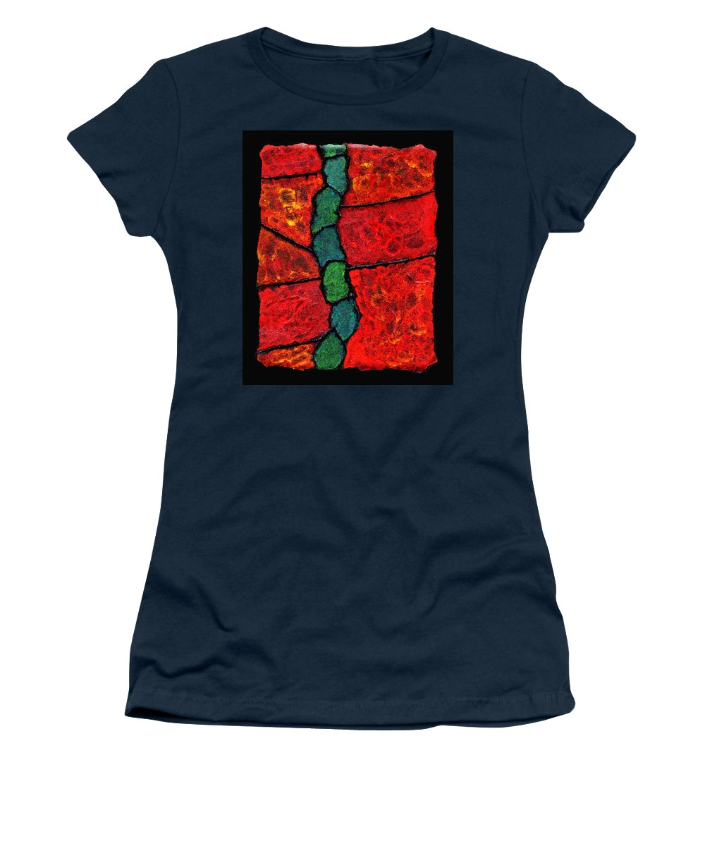 Abstract Women's T-Shirt (Athletic Fit) featuring the painting Faux Tile Painting One by Wayne Potrafka