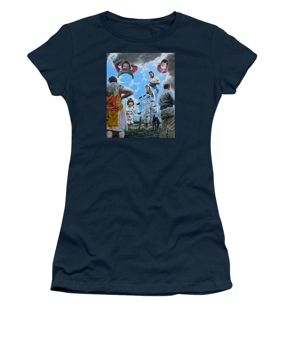Woman Women's T-Shirt (Athletic Fit) featuring the painting Ferris Wheel by Dave Martsolf