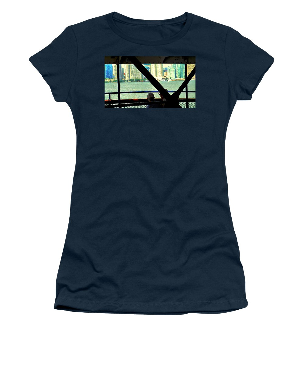 Ferry Women's T-Shirt featuring the photograph Ferry Across The Harbor by Ian MacDonald