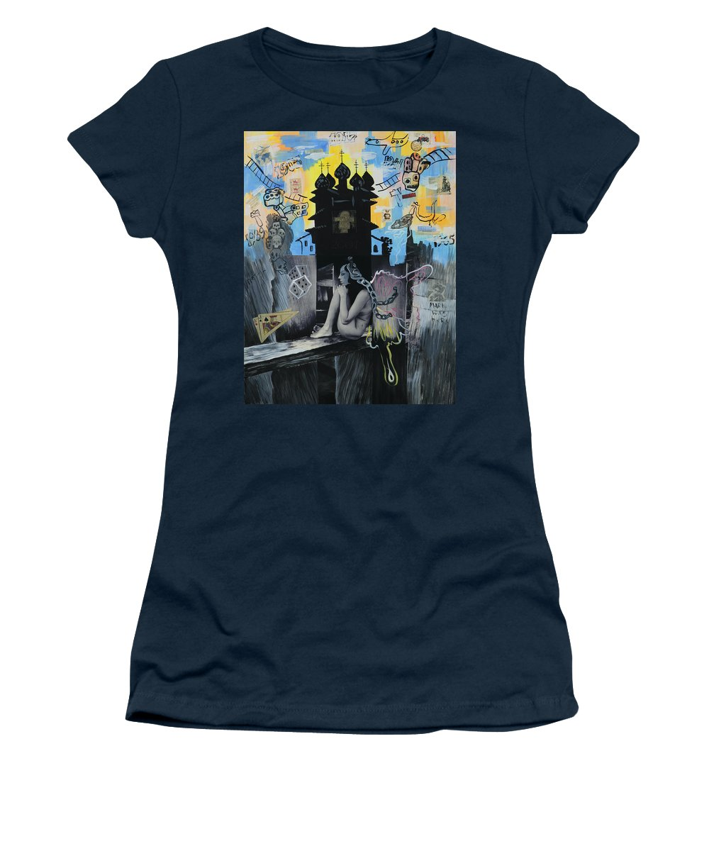 Surreal Women's T-Shirt (Athletic Fit) featuring the painting First Butterfly by Yelena Tylkina