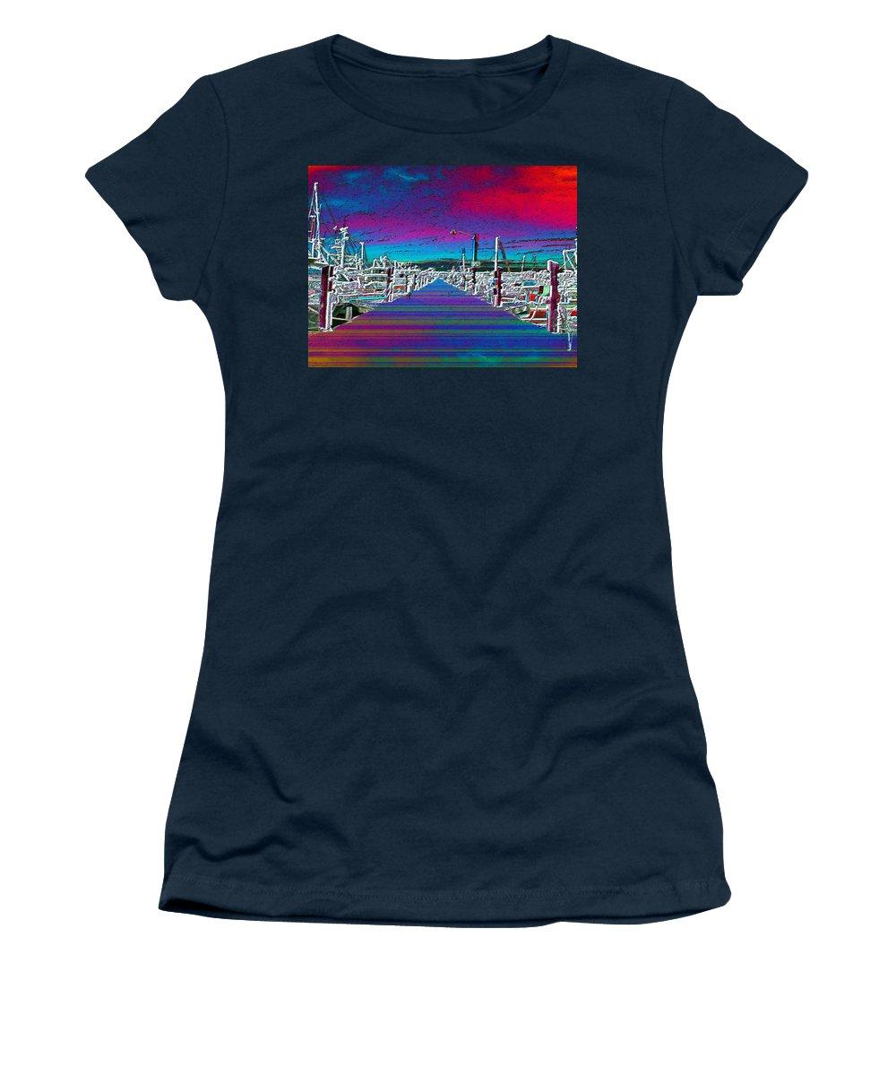 Seattle Women's T-Shirt featuring the photograph Fishermans Terminal Pier by Tim Allen