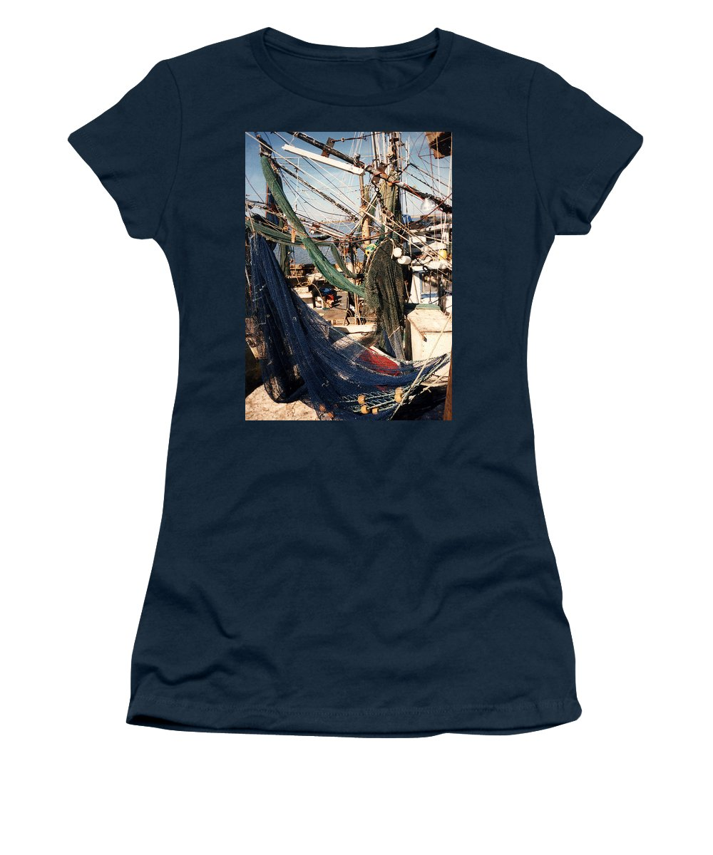 Shrimp Women's T-Shirt (Athletic Fit) featuring the photograph Fishing Nets by Anne Cameron Cutri