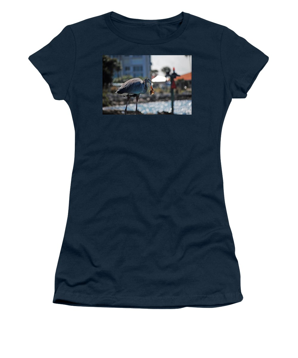 Gray Heron Women's T-Shirt featuring the photograph Fishing by Robert Meanor