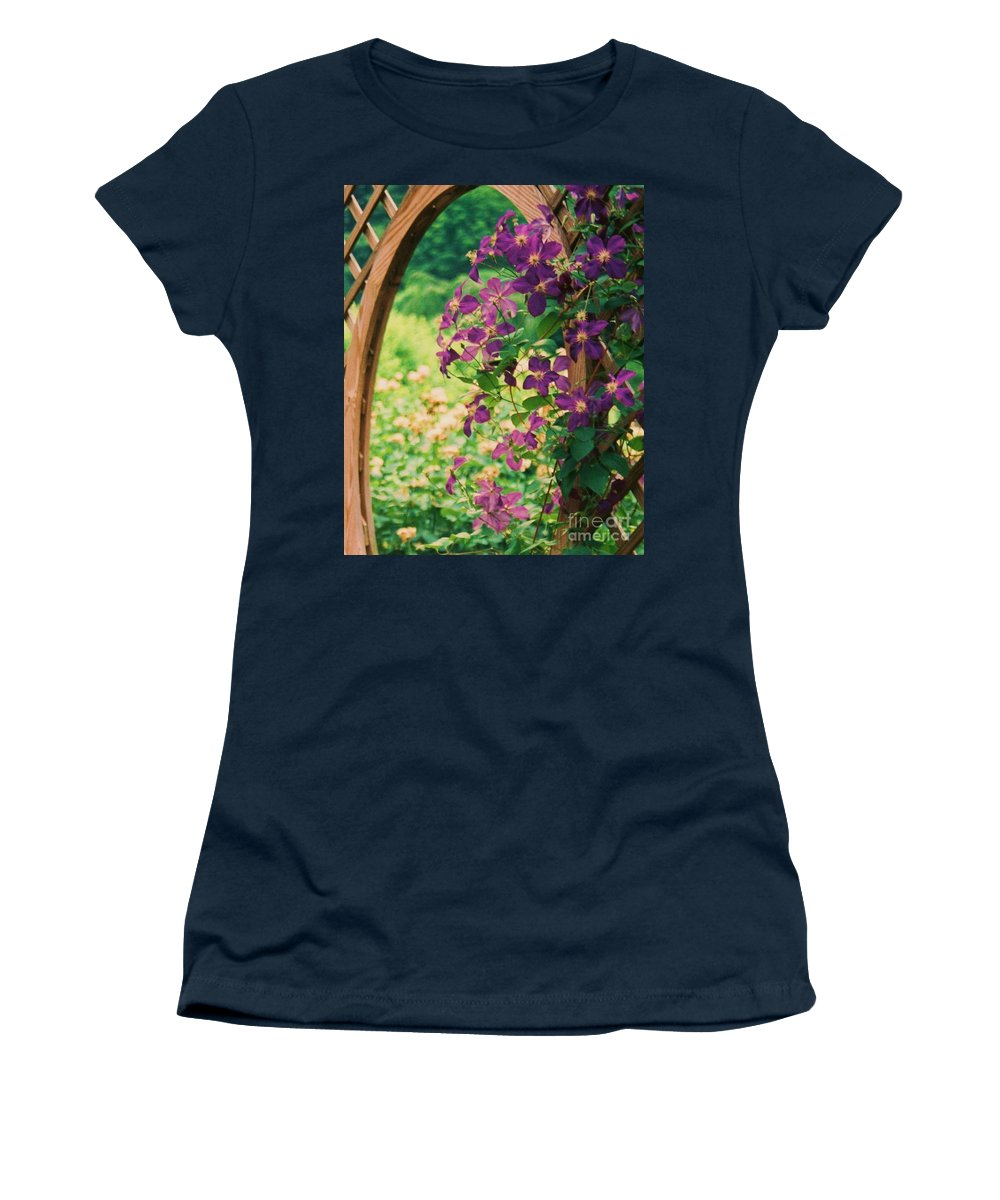 Floral Women's T-Shirt (Athletic Fit) featuring the painting Flowers On Vine by Eric Schiabor