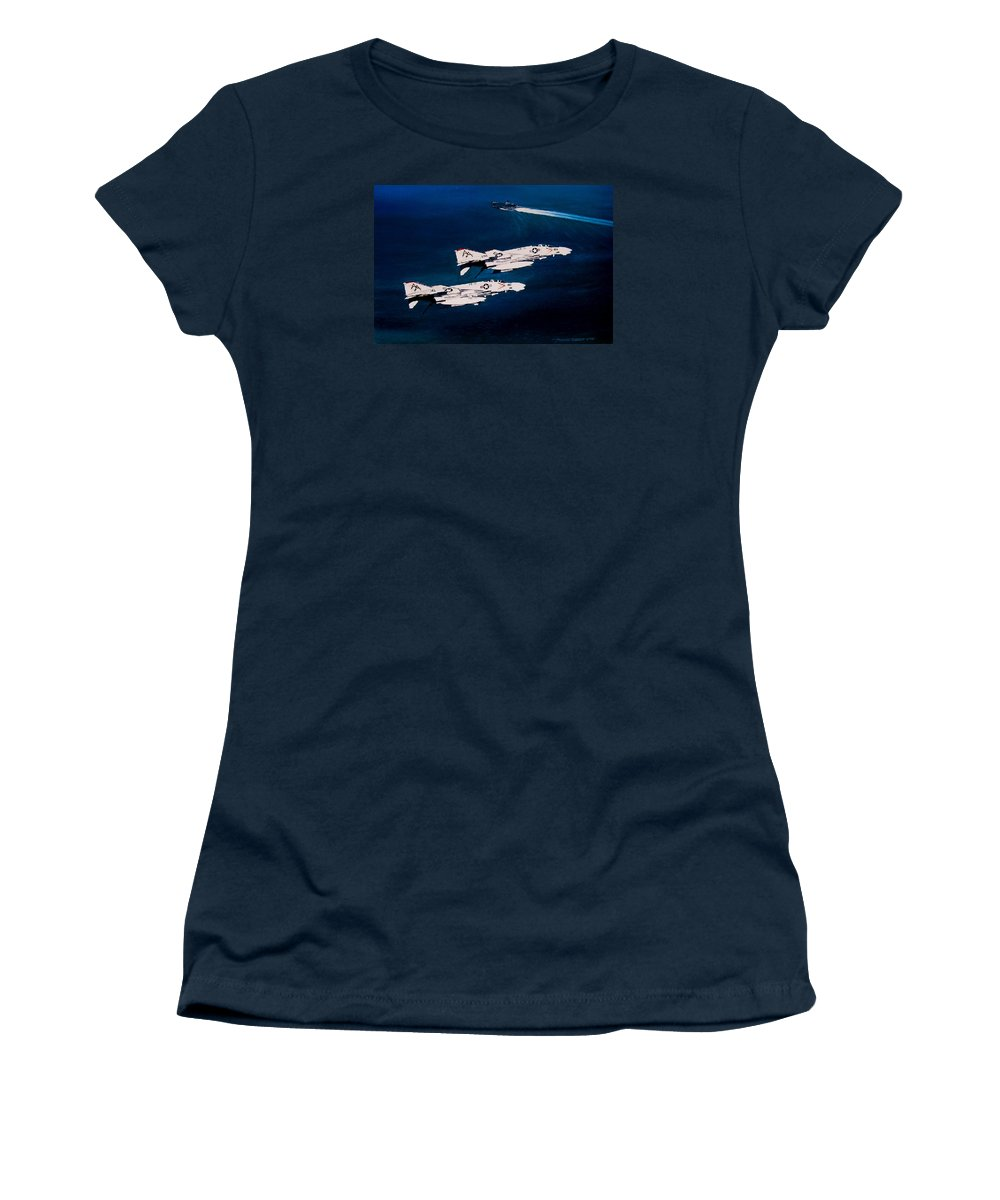 Military Women's T-Shirt featuring the painting Forrestal s Phantoms by Marc Stewart