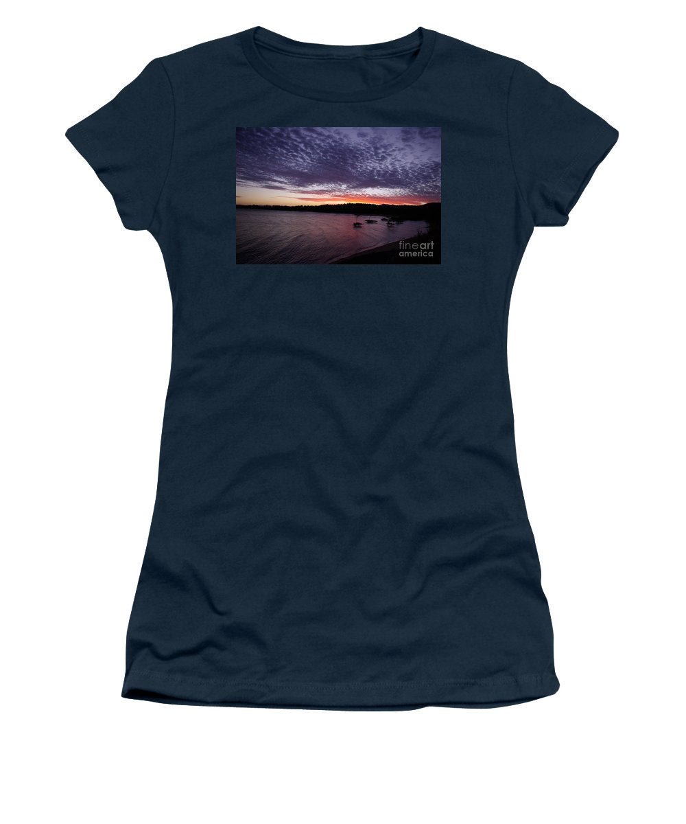 Landscape Women's T-Shirt (Athletic Fit) featuring the photograph Four Elements Sunset Sequence 7 Coconuts Qld by Kerryn Madsen - Pietsch