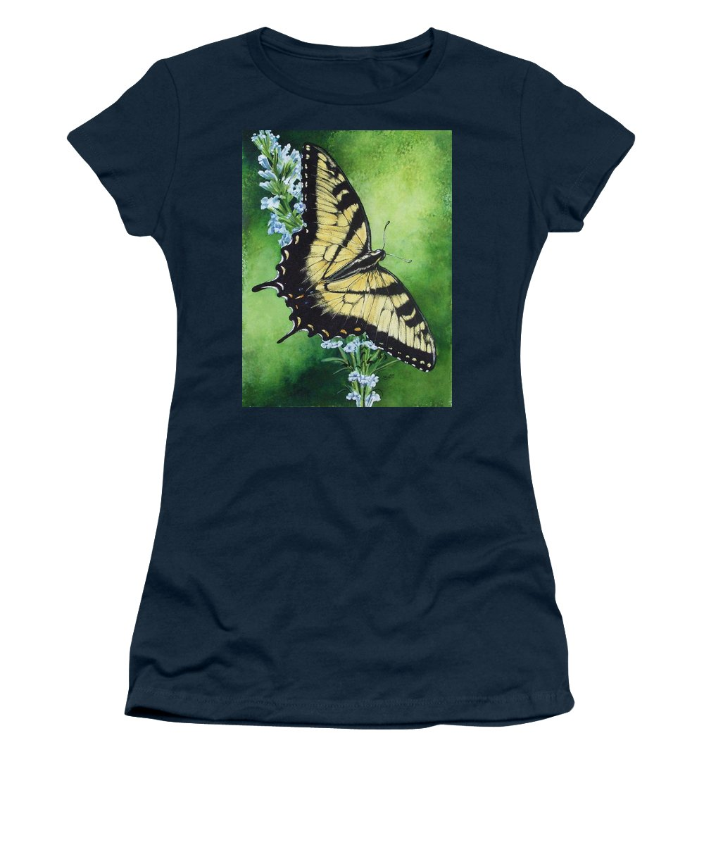 Bugs Women's T-Shirt (Athletic Fit) featuring the mixed media Fragile Beauty by Barbara Keith