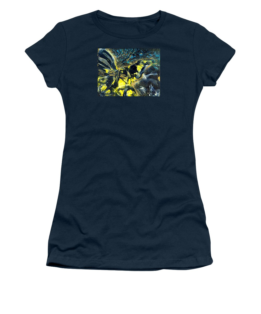 Butterfly Women's T-Shirt (Athletic Fit) featuring the painting Freedom For Margot by Heather Hennick