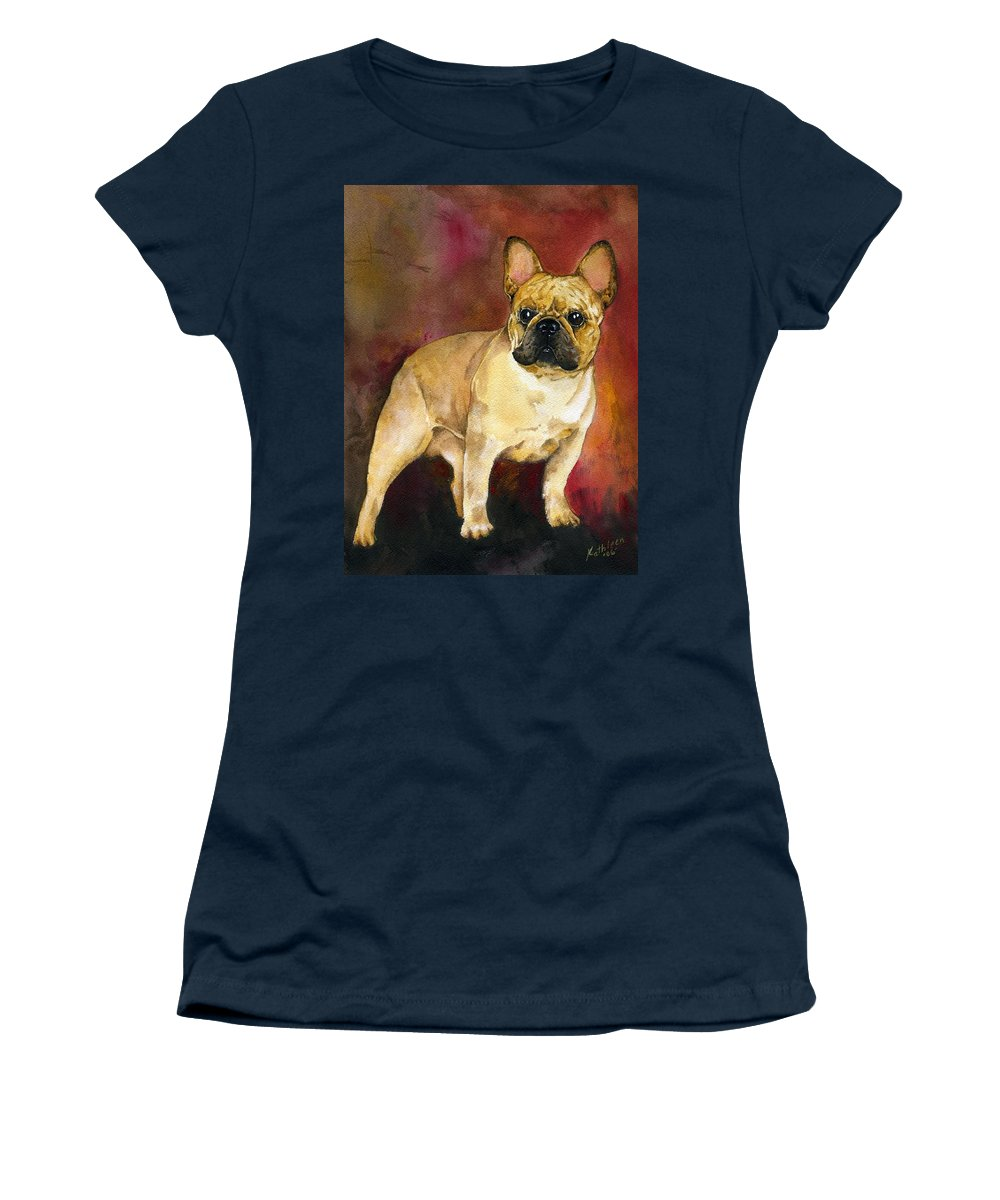 French Bulldog Women's T-Shirt featuring the painting French Bulldog by Kathleen Sepulveda