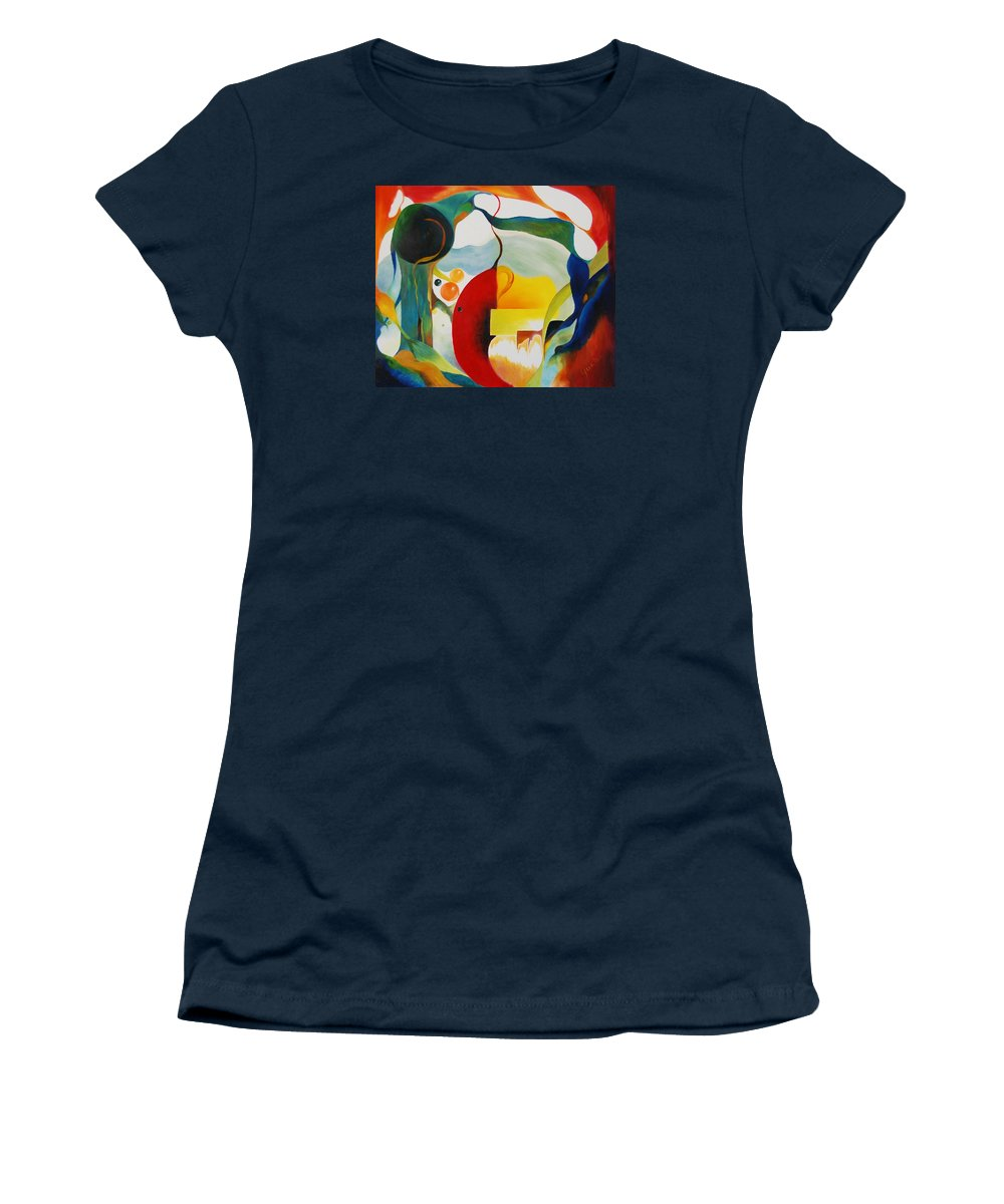 Abstract Women's T-Shirt featuring the painting Frenzy by Peggy Guichu