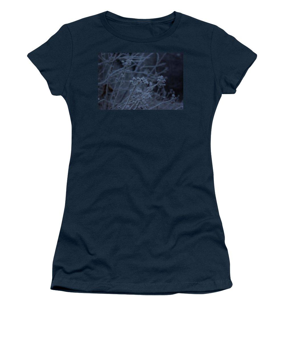 Frozen Women's T-Shirt featuring the photograph Frozen Buds by Cindy Johnston