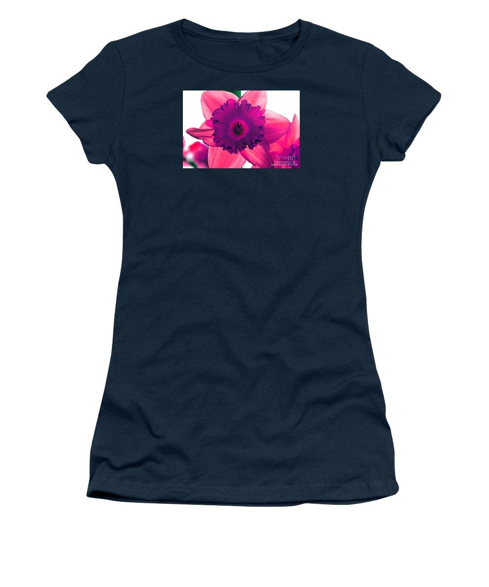 Pink Fuchsia Bloom Flower Daffodil Edit Photograph Digital Modern Edge Nature Women's T-Shirt featuring the photograph Fuchsia by Stevie Ellis