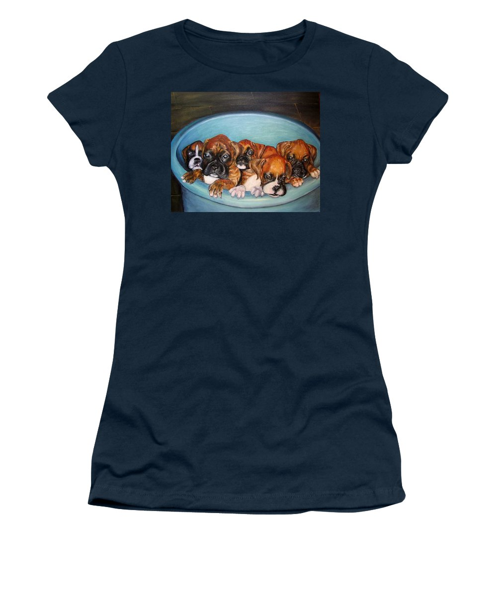 Oil Women's T-Shirt featuring the painting Funny Puppies orginal oil painting by Natalja Picugina