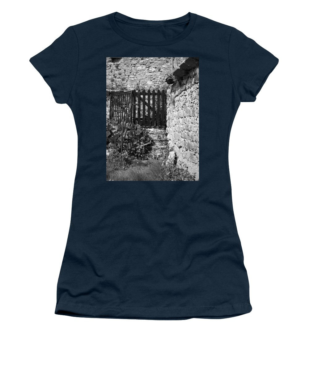 Irish Women's T-Shirt (Athletic Fit) featuring the photograph Gate At Dunguaire Castle Kinvara Ireland by Teresa Mucha
