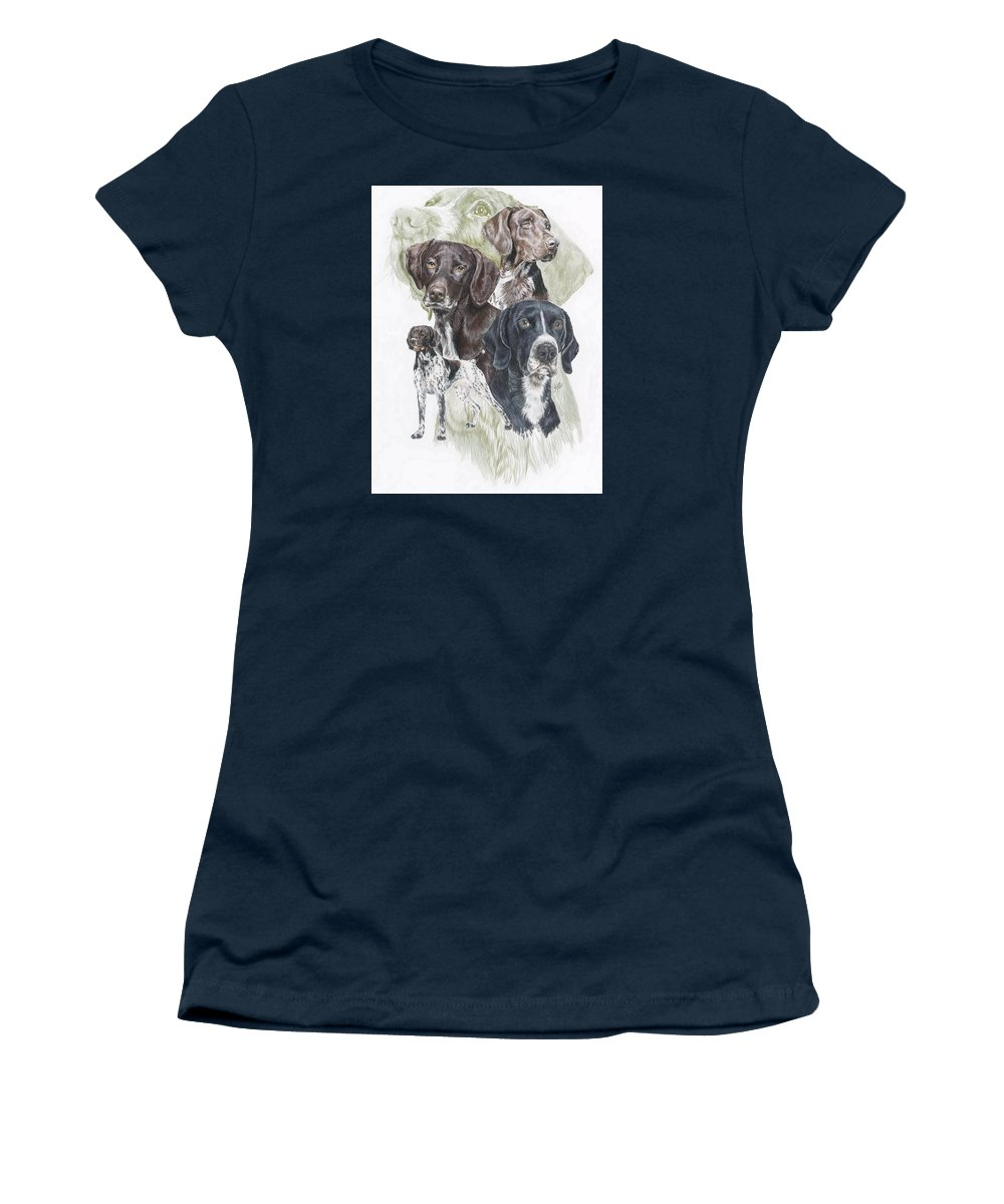 Gshp Women's T-Shirt (Athletic Fit) featuring the mixed media German Shorted-haired Pointer W/ghost by Barbara Keith