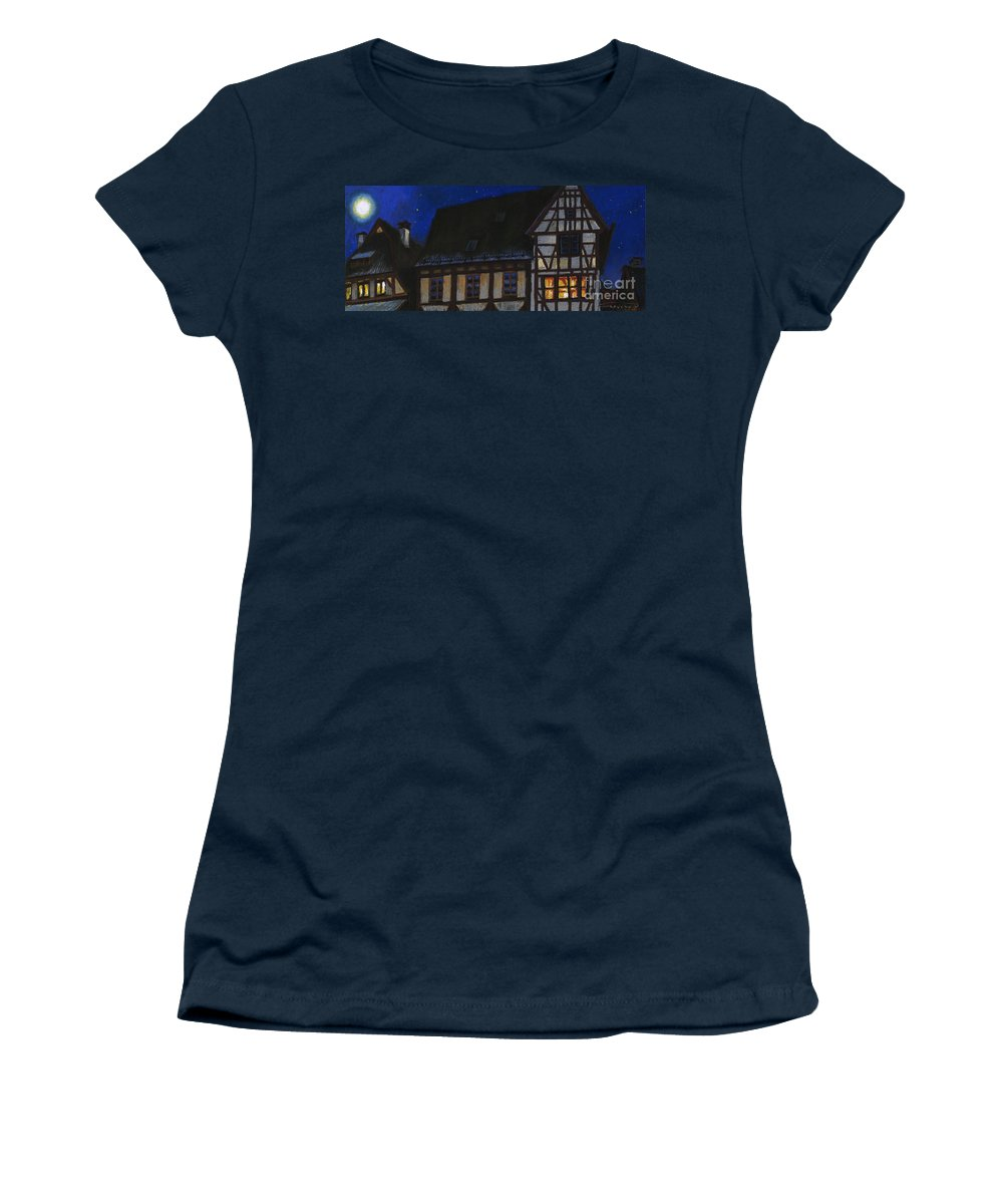 Pastel Women's T-Shirt featuring the painting Germany Ulm Fischer Viertel Moonroofs by Yuriy Shevchuk