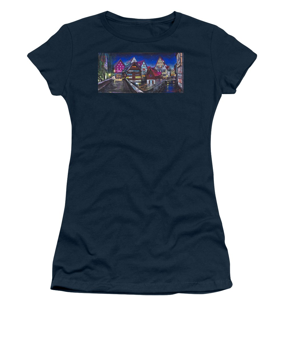 Pastel Women's T-Shirt (Athletic Fit) featuring the painting Germany Ulm Fischer Viertel by Yuriy Shevchuk