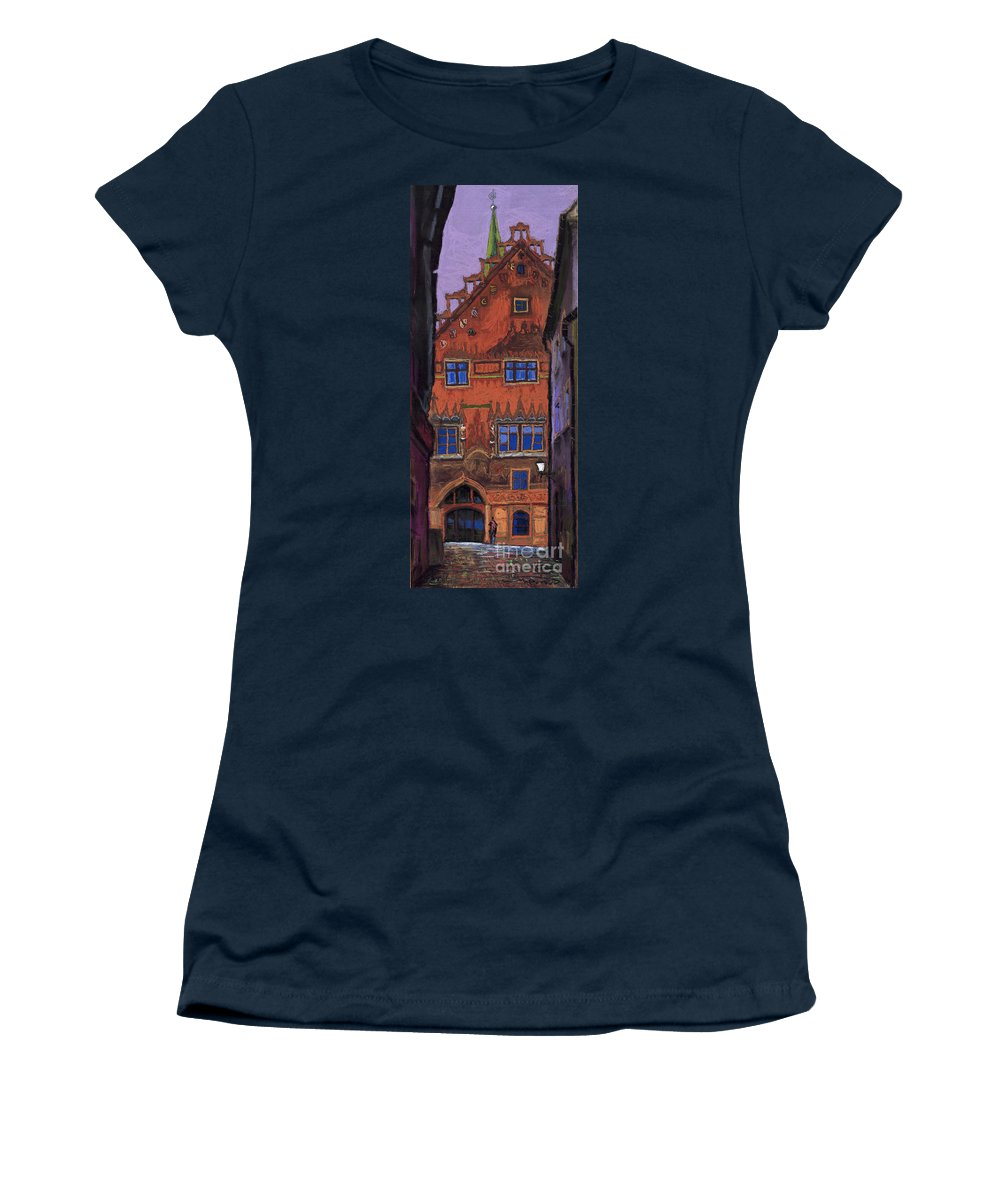 Pastel Women's T-Shirt featuring the painting Germany Ulm by Yuriy Shevchuk
