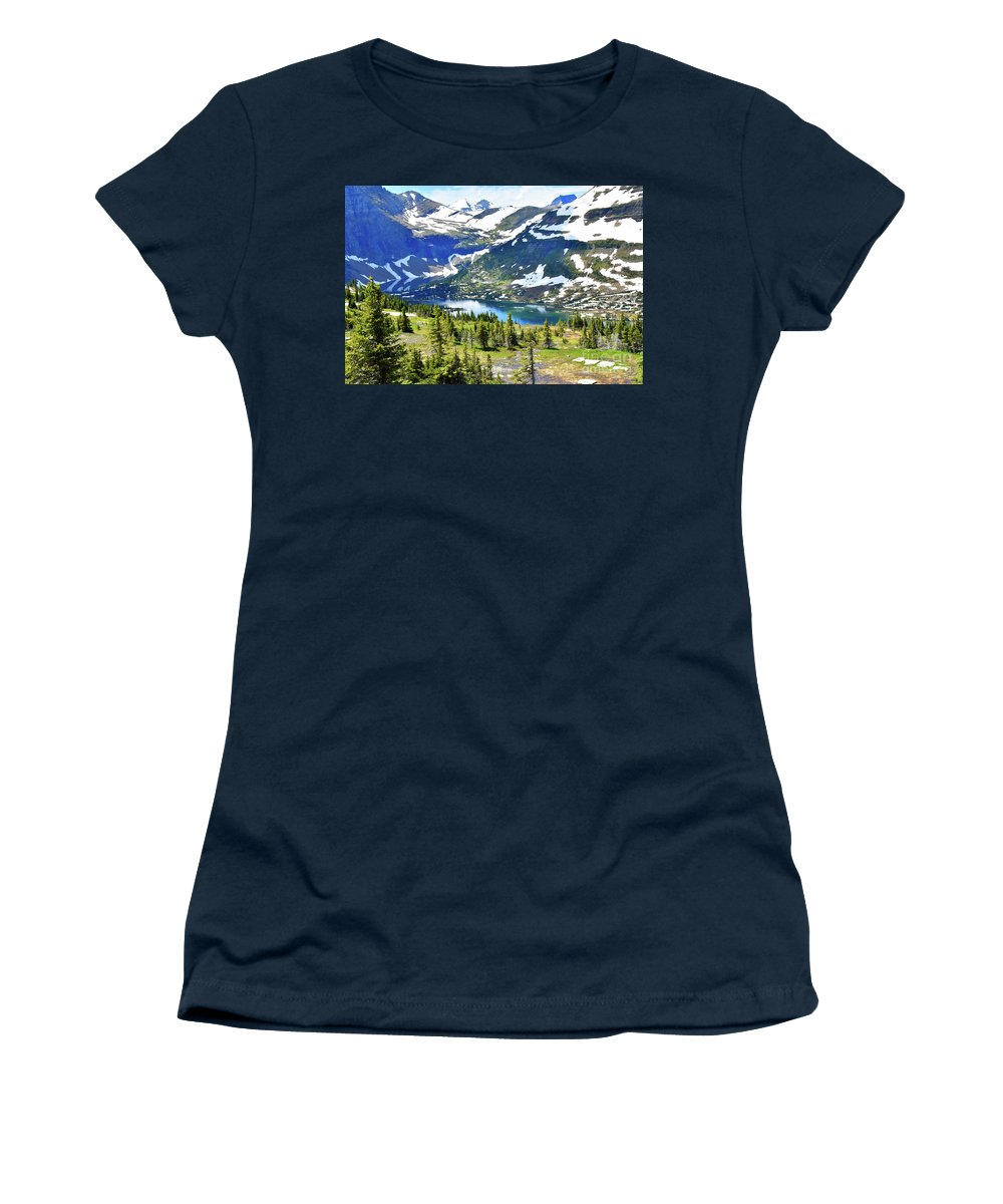 Snow Women's T-Shirt (Athletic Fit) featuring the photograph Glacier National Park2 by Hughes Country Roads Photography