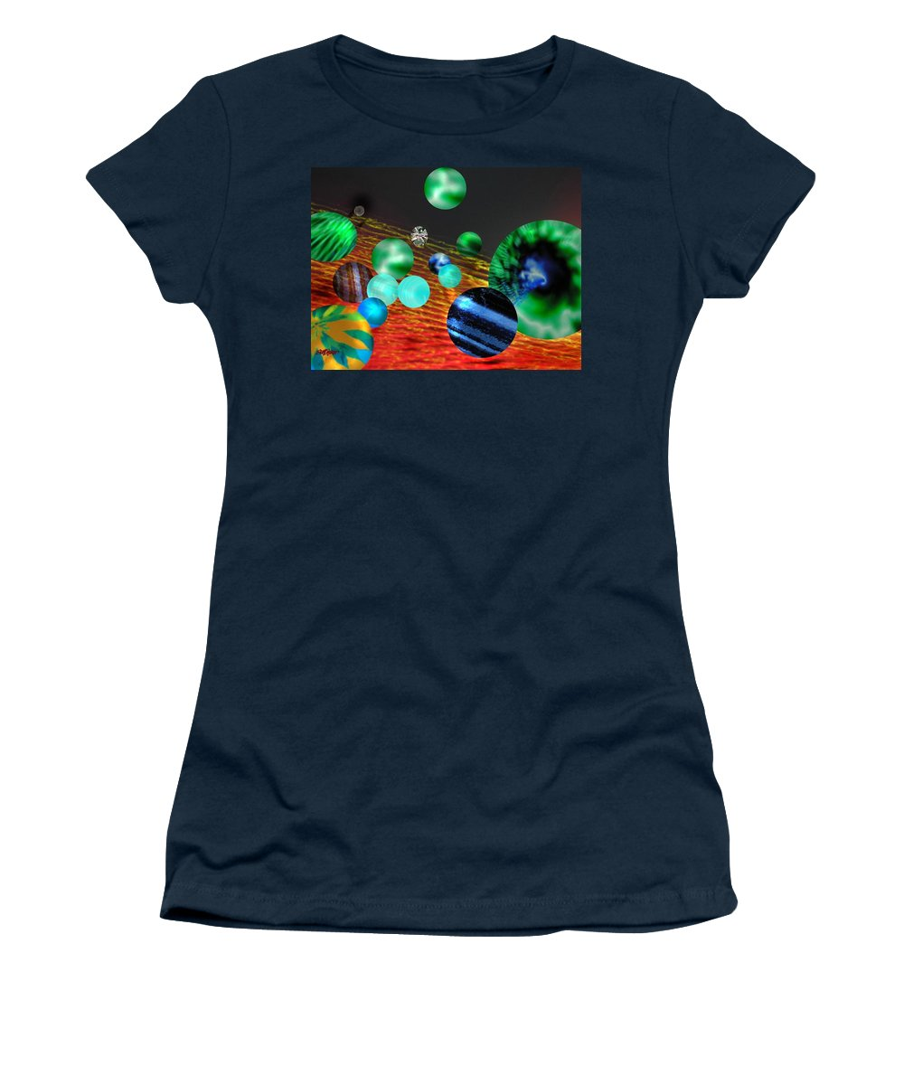 A Tribute To Donovan And His Song cosmic Wheels. A Line In The Song...god Is Playing Marbles With Women's T-Shirt featuring the digital art God Playing Marbles Tribute To Donovan by Seth Weaver