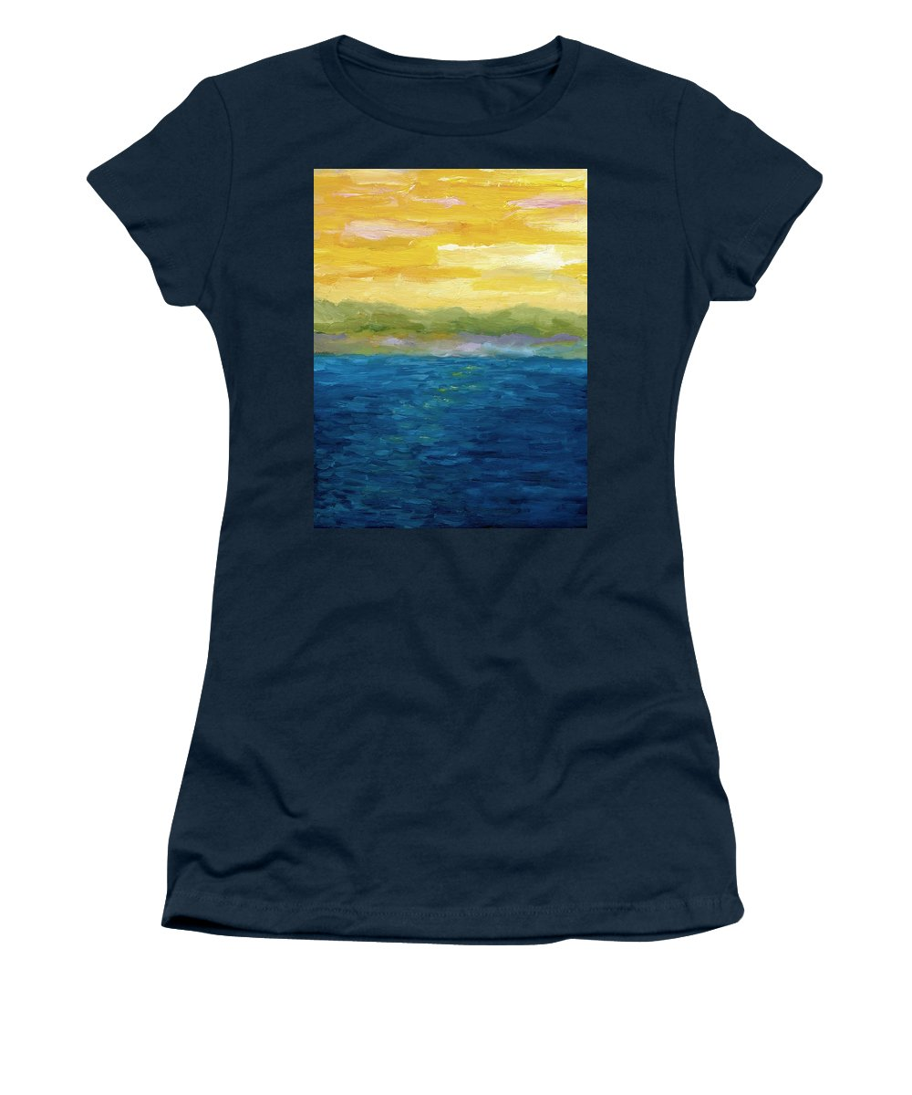 Lake Women's T-Shirt featuring the painting Gold And Pink Sunset by Michelle Calkins