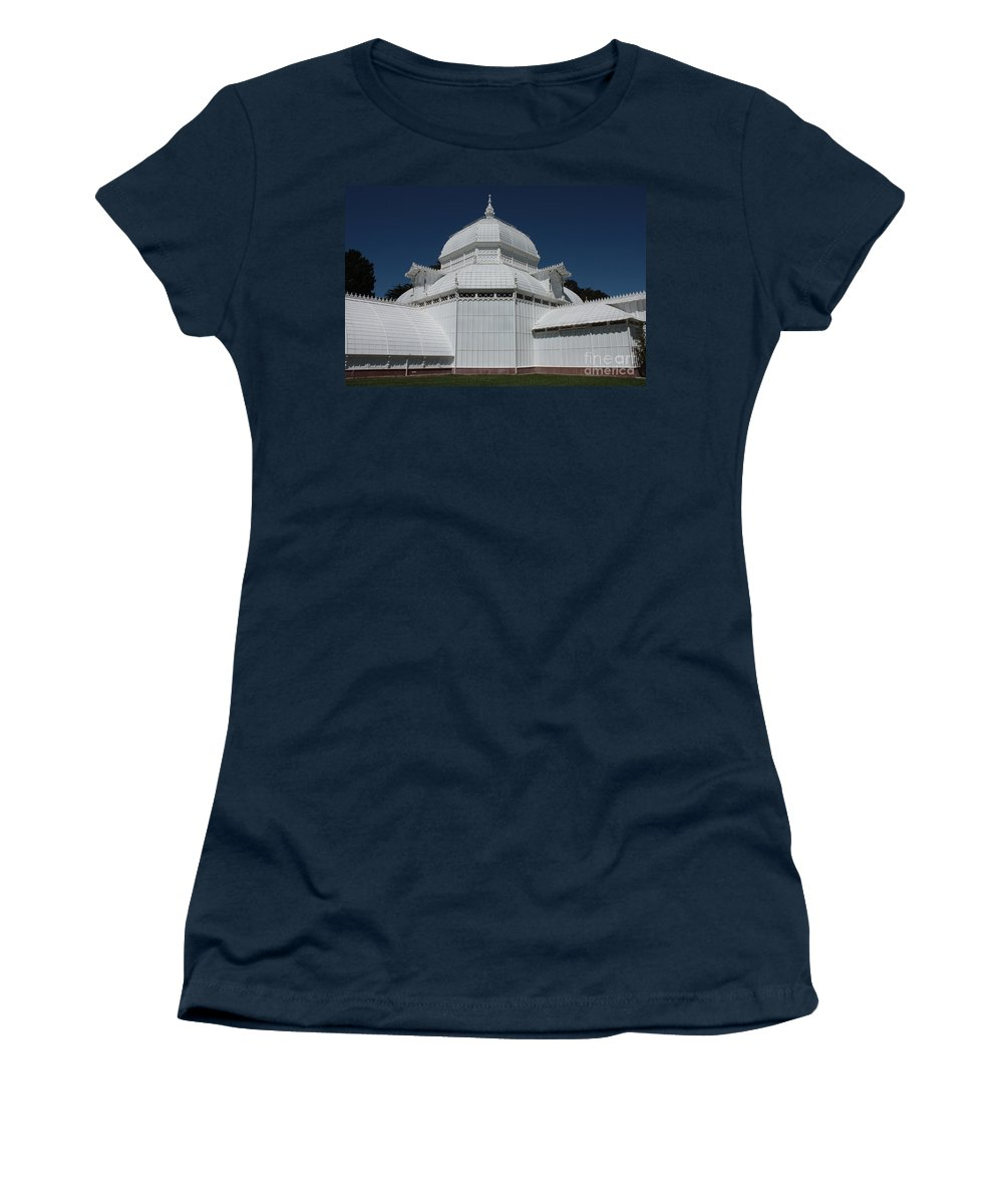 White Women's T-Shirt (Athletic Fit) featuring the photograph Golden Gate Conservatory by Carol Groenen