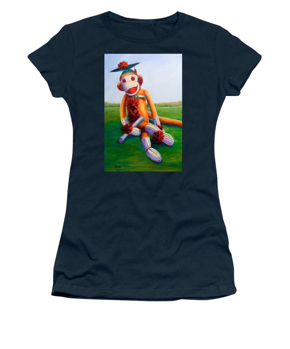 Graduation Women's T-Shirt (Athletic Fit) featuring the painting Graduate Made Of Sockies by Shannon Grissom