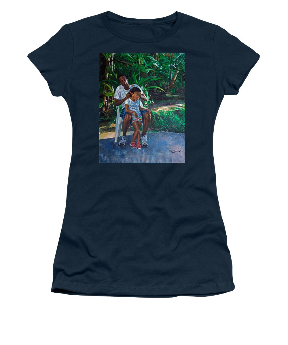Family Women's T-Shirt featuring the painting Grandfather And Child by Colin Bootman