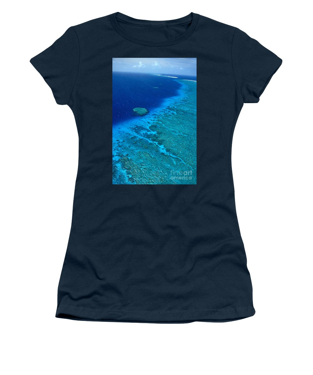 Aerial Women's T-Shirt (Athletic Fit) featuring the photograph Great Barrier Reef by Bill Schildge - Printscapes
