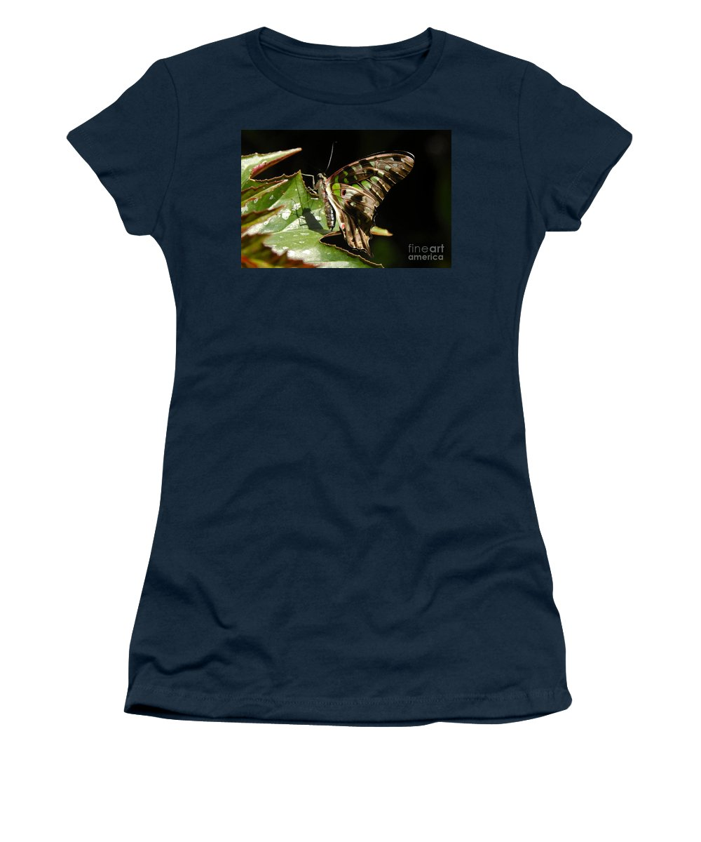 Butterfly Women's T-Shirt (Athletic Fit) featuring the photograph Green Checkered Skipper by David Lee Thompson