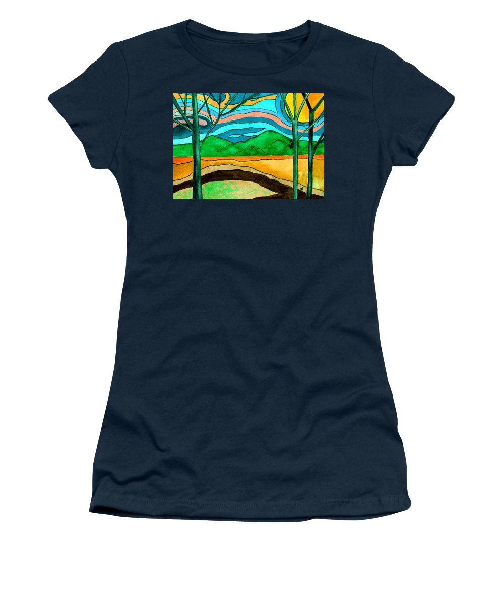 Watercolor Women's T-Shirt featuring the painting Green Hill Country by Brenda Owen